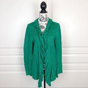 LAFAYETTE 148 Ruffled Collar Open Cardigan Green